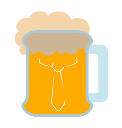 isolated beer with a necktie icon vector image