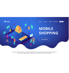 isometric mobile shopping online landing page vector image