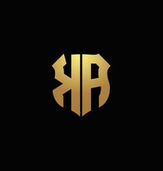Ka logo monogram with gold colors and shield vector