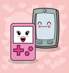 kawaii smartphone gamepad image vector image