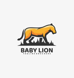 Logo baby lion simple mascot style vector