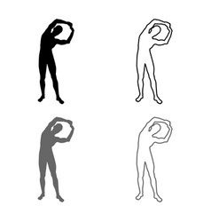 man doing exercises tilts to the side sport vector image