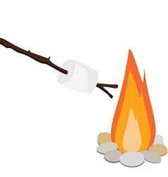 Marshmallow on wooden stick vector