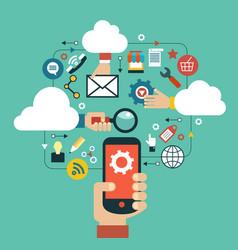mobile cloud computing vector image