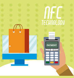 nfc technology for shopping vector image