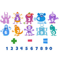 Numbers set with cartoon monster characters vector
