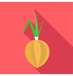 Onion with fresh green sprout icon flat style vector