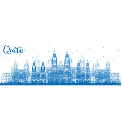 Outline quito skyline with blue buildings vector