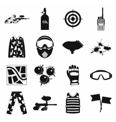 Paintball game simple icons set vector image