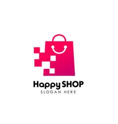 pixel shop logo design template shopping logo vector image