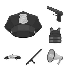 Police department monochrome icons in set vector