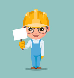 Promotion advert stick cute builder engeneer vector