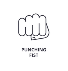 punching fist line icon outline sign linear vector image