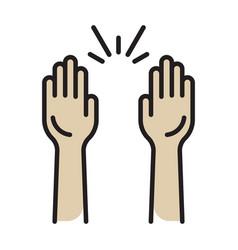 Raising hands audience celebrate flat colours vector