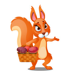 Red squirrel carries a wicker basket filled vector