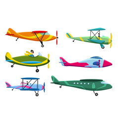 retro airplane set collection old aiplane vector image