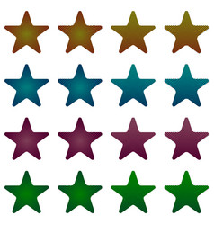 rounded star black star collection with stripes vector image