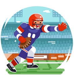 Running american football rugby player character vector