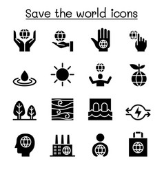 Save the world icon set vector