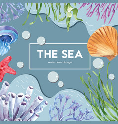 Sealife themed frame design with animal under vector