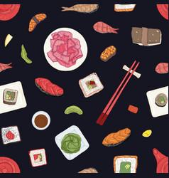 seamless pattern with japanese sushi sashimi and vector image