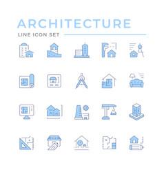 Set color line icons architecture vector