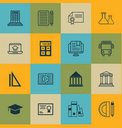 set of 16 education icons includes academy taped vector image