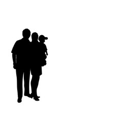 Silhouette happy family dad mom and baby vector