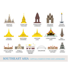 Southeast asia cities landmarks in flat style vector