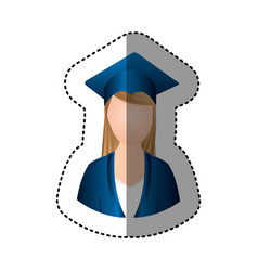 Sticker half body woman with graduation outfit vector
