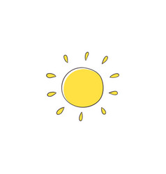 Stylized simple na ve hand drawing of yellow sun vector