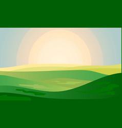 summer green landscape field dawn above hills vector image
