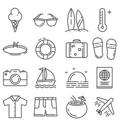 summer icons gray thin line set vector image