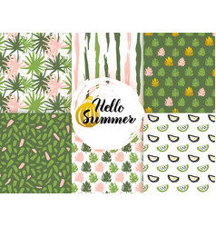 Summer nature seamless patterns vector