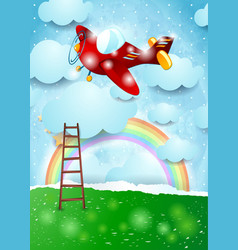 Surreal landscape with ladder and red airplane vector