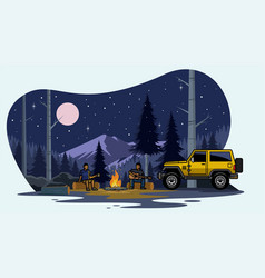 Suv car camping on the forest vector