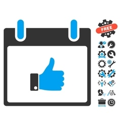 Thumb Up Hand Calendar Day Icon With Bonus vector