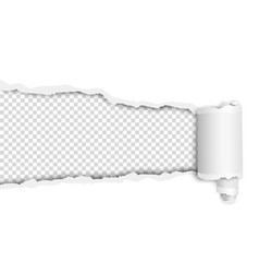 Torn long hole in white sheet with wrapped paper vector