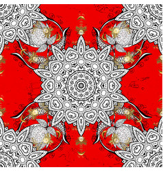 Traditional orient ornament white pattern on red vector