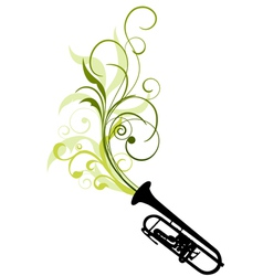 trombone with floral vector image