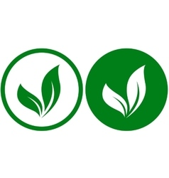 two icons with leaves vector image