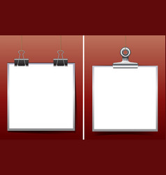 two whiteboards on red background vector image