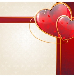 Valentines Day card with sparkling hearts and vector image