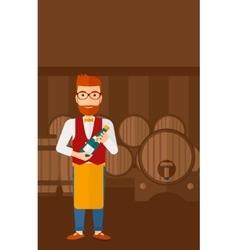 Waiter holding bottle of wine vector image