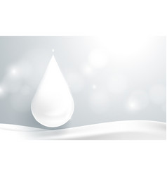 water drop falling down and white abstract shiny vector image