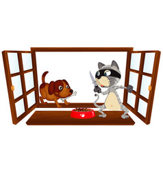 window scene with thief cat and dog vector image
