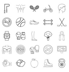 Workout icons set outline style vector