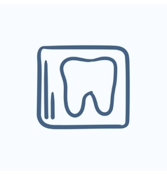 X-ray of tooth sketch icon vector