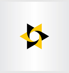 Yellow black logo star icon element vector
