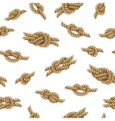 Yellow nautical rope knots set over beige vector image
